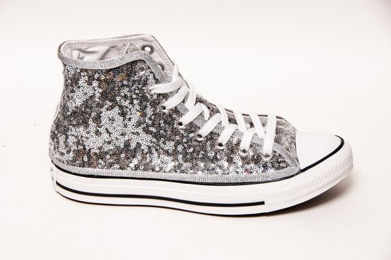 beb2ed2cb666 Tiny Sequin - Starlight Silver with Black Stripes Converse Canvas Hi Top  Sneaker Tennis Shoes