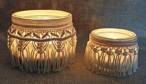 Set 2 lanterne in macram portacandele allestimento for Lanterne arredo