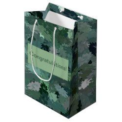 Green Floral Tapestry gift bag, personalize with your own text!