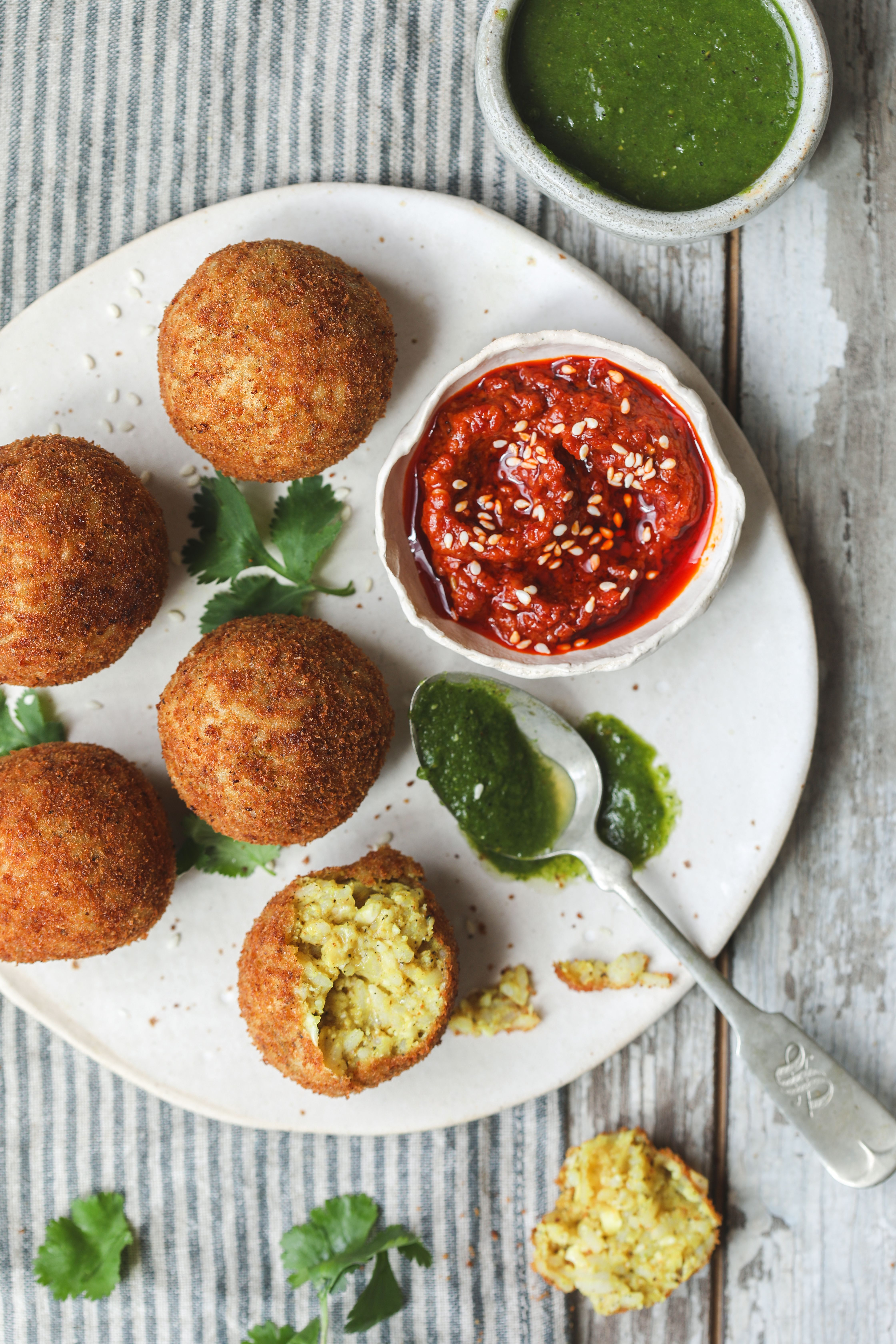 Cauliflower rice ballsarancini indian inspired recipe