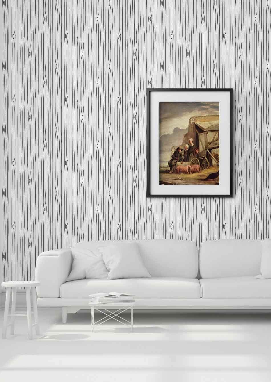 Woodgrain Outline Wallpaper Mineheart Interior Design