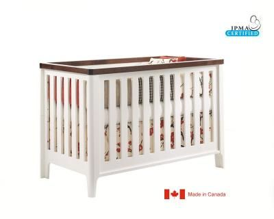 Natart Tulip Piccolo Crib White Java, Merry Go Round Baby Bedding