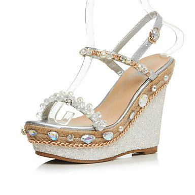 Women's Shoes Cowhide Wedge Heel Wedges / Heels / Ankle Strap Sandals Wedding / Party & Evening / Dress Pink / Silver 2016 - $82.93