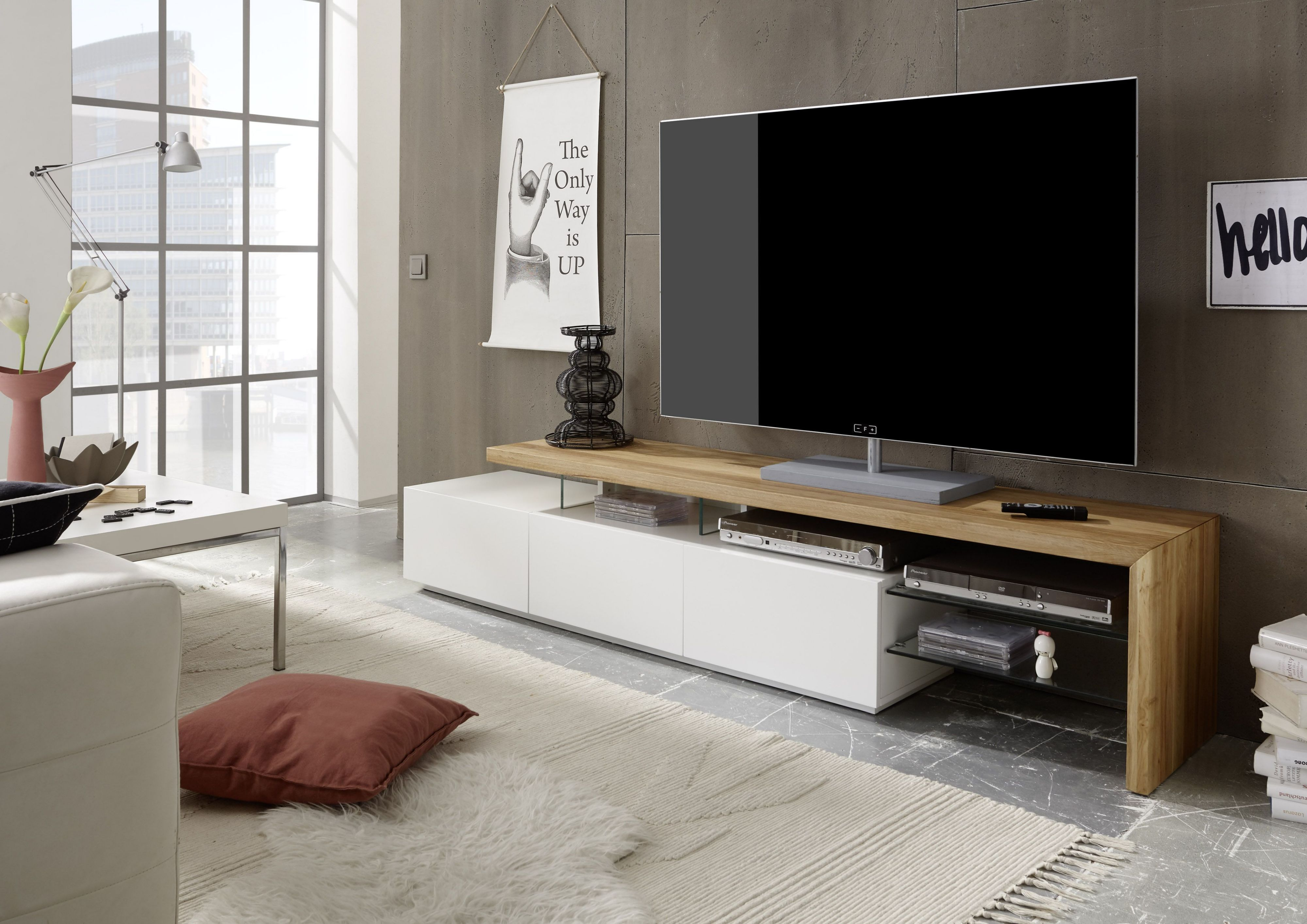 Tv Rack Weiss Matt/ Asteiche Massiv Woody 41 02604 Holz Modern Jetzt  Bestellen Unter: Https://moebel.ladendirekt.de/wohnzimmer/tv Hifi Moebel/tv Racks/?uidu003d  ...