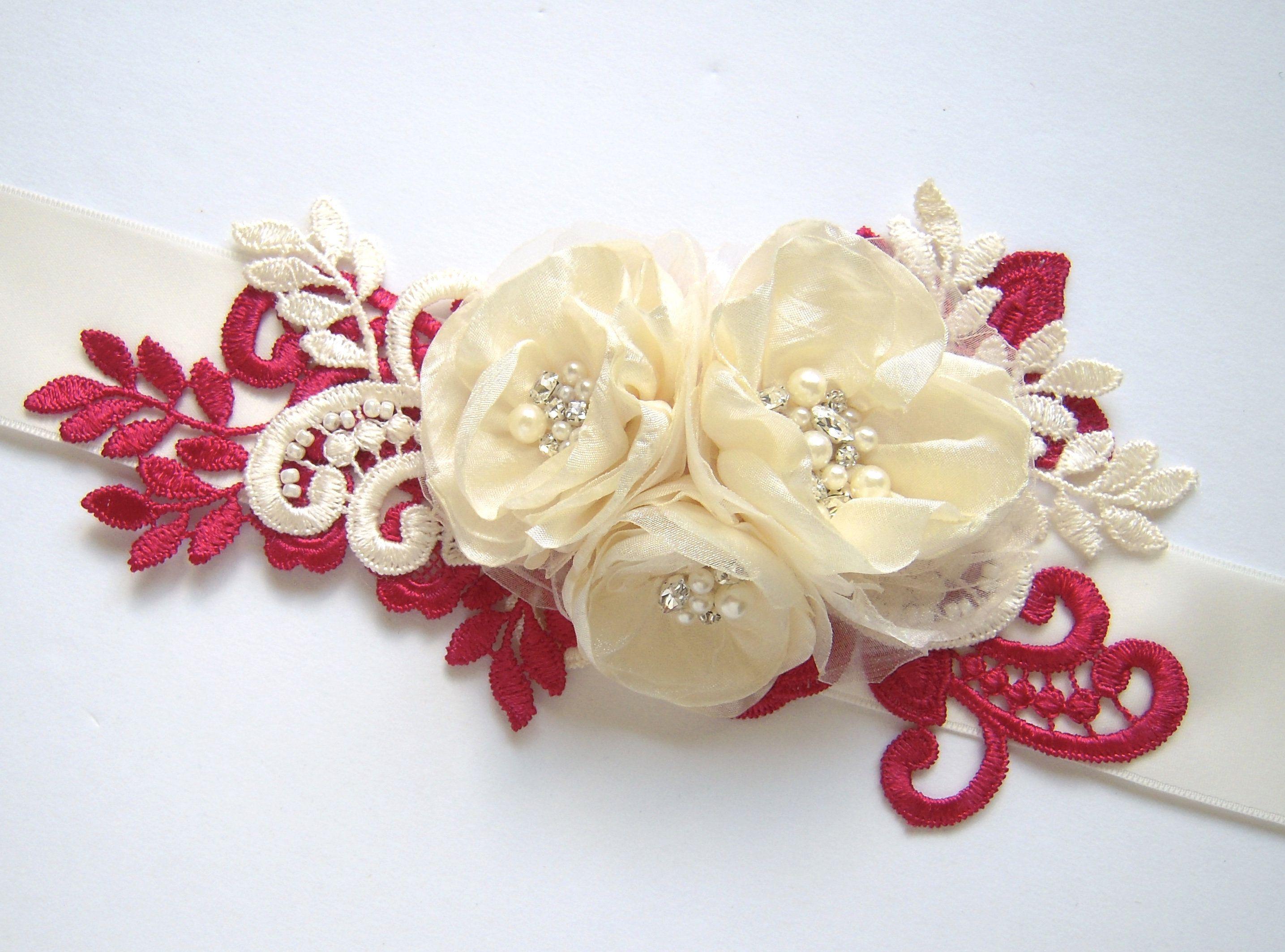 Burlap wedding dress sash  Christmas Wedding Dress Sash Belt with Dark Red u Ivory Lace
