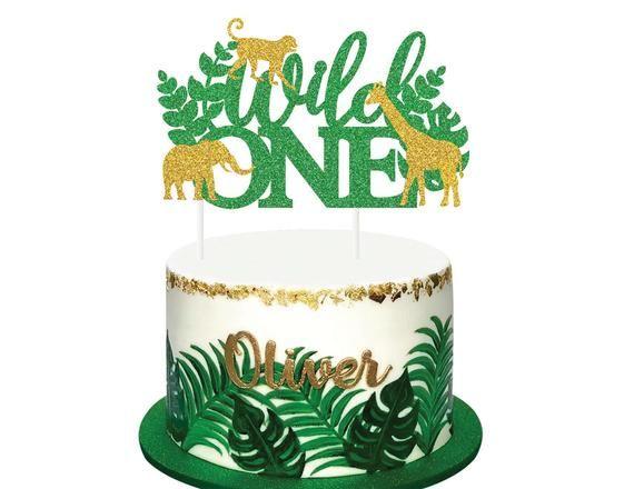 Gild Glitter 2nd Birthday Safari Photo Prop Two Wild Cake Topper