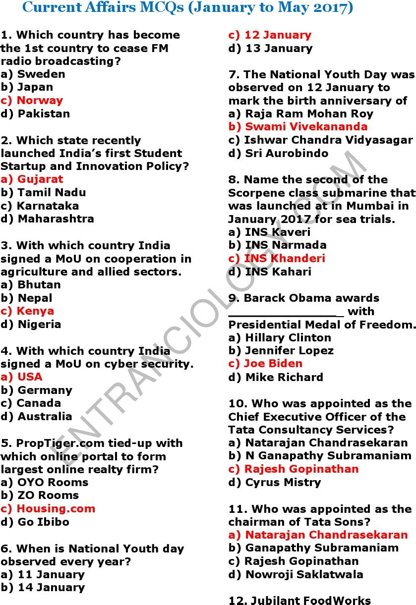 current affairs general knowledge questions and answers from January