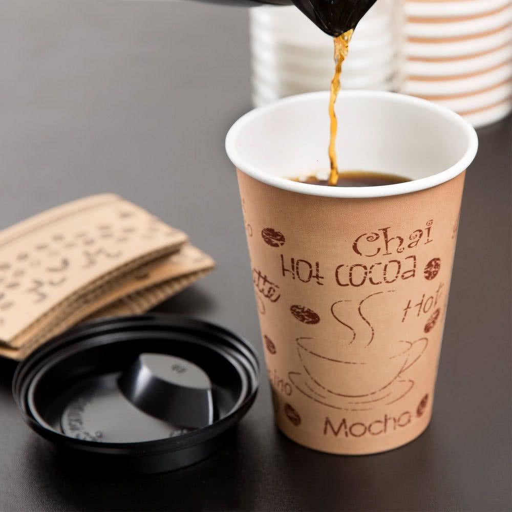 Choice 12 oz paper hot cup lid and sleeve combo kit