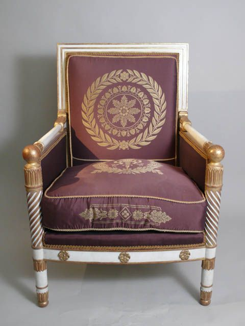 Large Empire/ Napoleonic throne chair, cream and gilded frame with claret silk wreath pattern upholstery, 98cm high. **x2 available to hire** (Stock code;- CHAC10086)