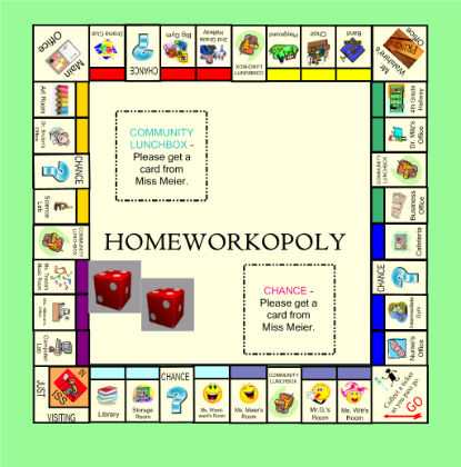 Homeworkopoly Game Board On The Smart Board Increases Motivation
