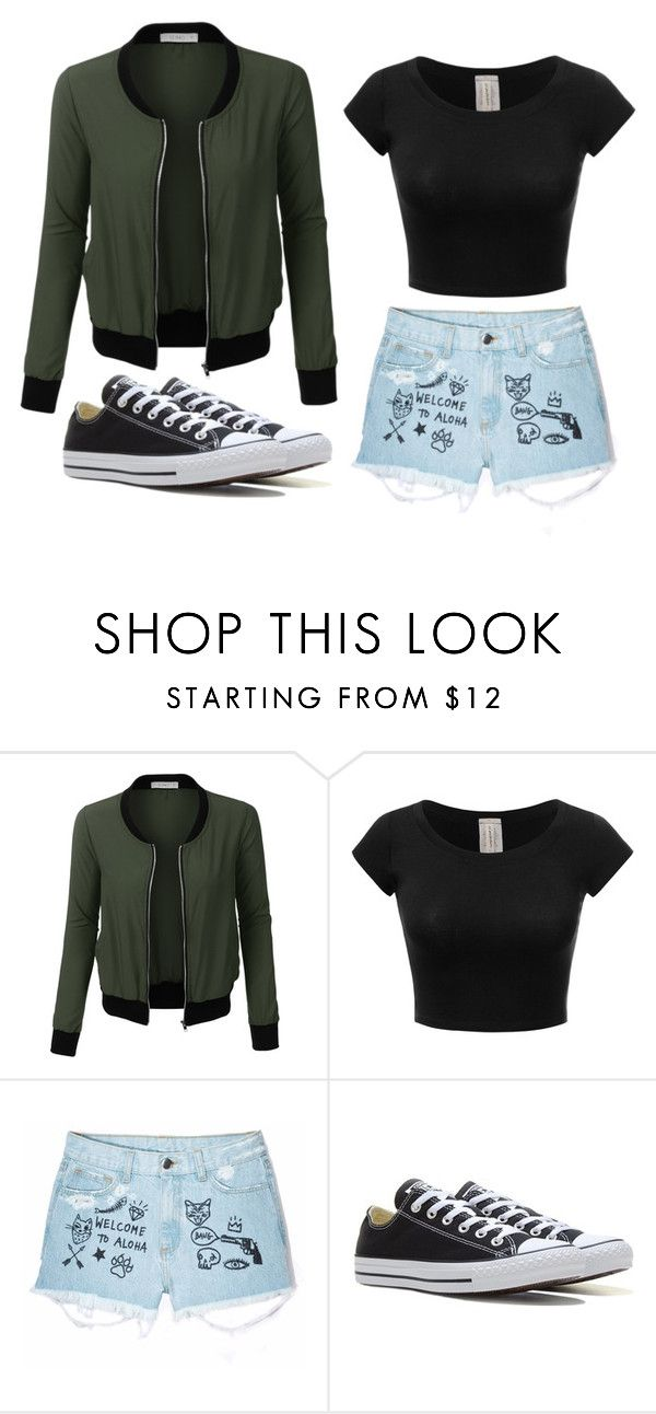"""Untitled #86"" by marija-jozic on Polyvore featuring LE3NO, Aloha From Deer and Converse"