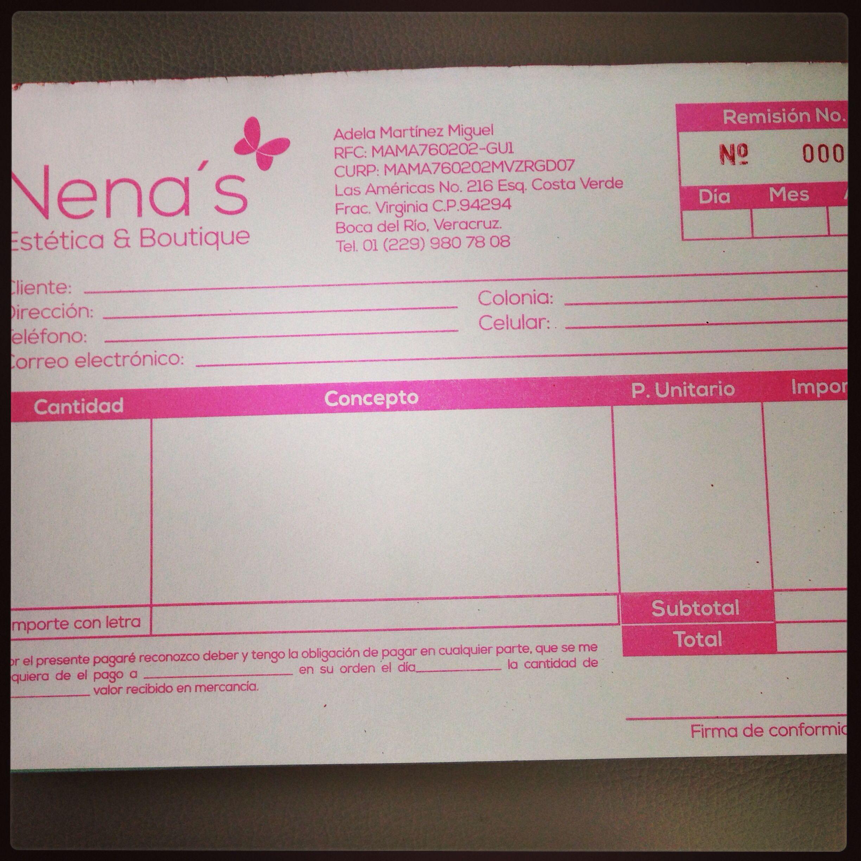 Notas de remisión Nenas Estética & Boutique   RP Mi Mejor Compra ...