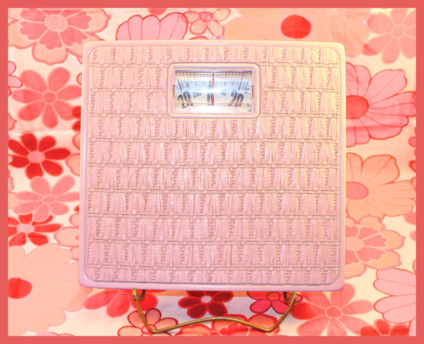 Bathroom Scale Calibration - Fabulous vintage pink counselor wicker bathroom scale with black metal calibration knob by ajsvintagetreasures