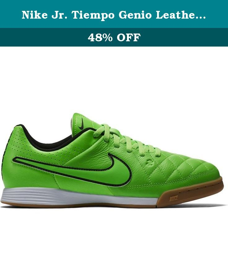 Nike Jr. Tiempo Genio Leather IN Indoor Soccer Shoes (Green Strike) Sz.  3.5Y. UPPER  Soft full-grain natural leather for comfort and good ball ... ac2dcfbc5