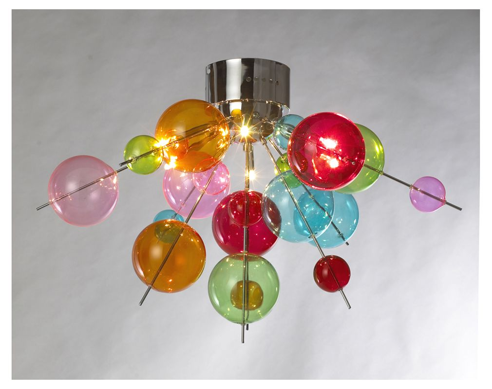 Duodenary technicoloured ball chandelier contemporary unique a venetian style glass ceiling lamp featuring multicoloured glass baubles and halogen bulbs if you are looking for something innovative and arubaitofo Image collections