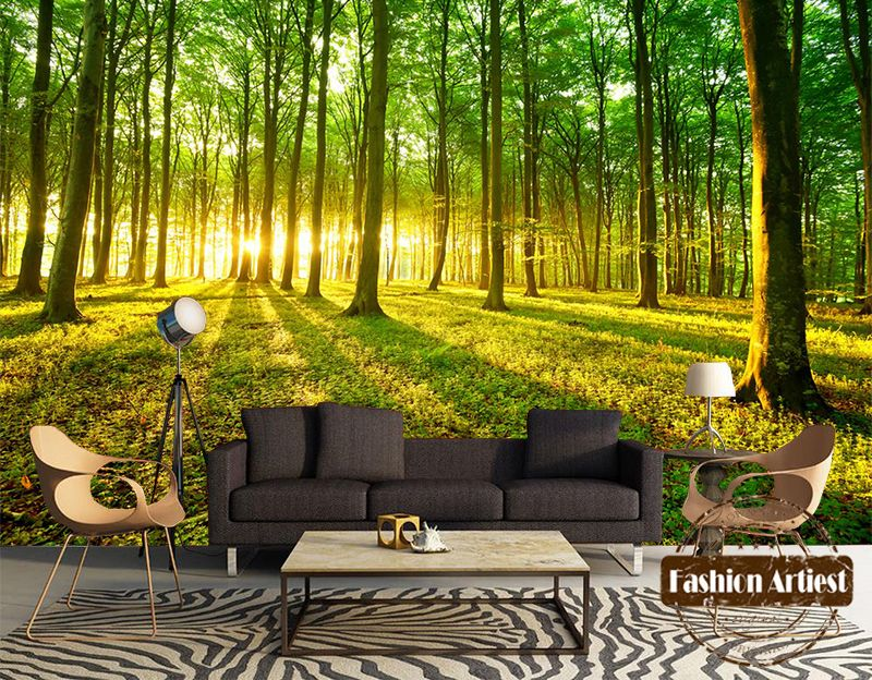 Custom 3d Tree Wallpaper Mural Pease Scenery Sunshine In Forest Grassland Sofa Bedroom Living Roo Tree Wallpaper Mural Tree Wallpaper Mural Wallpaper