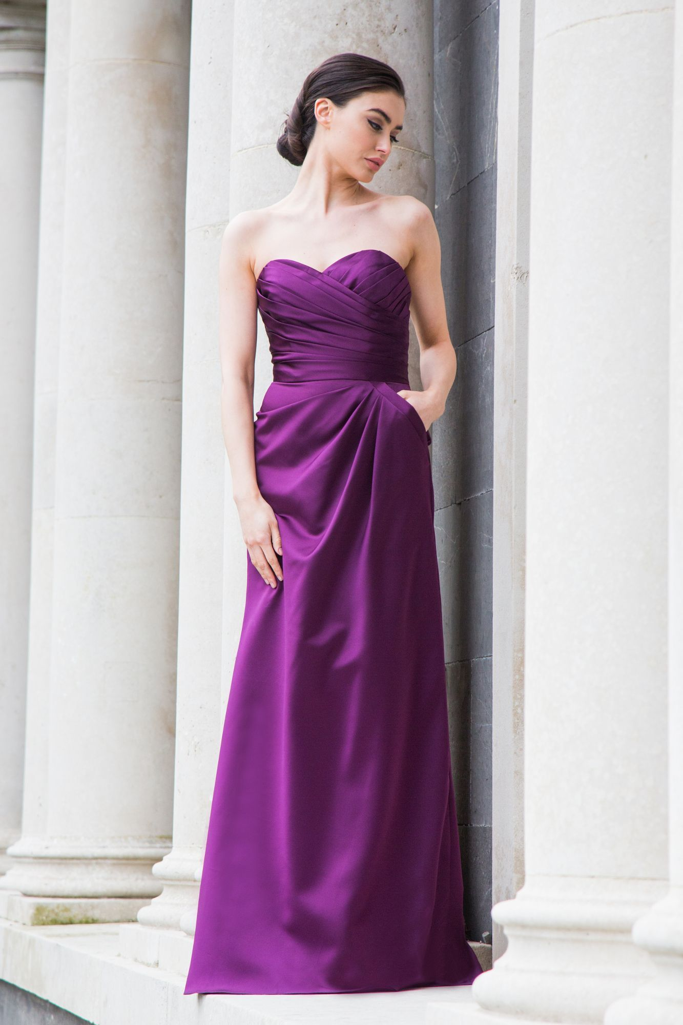 Satin Corsagenkleid lang Aubergine Lila Special Day in 11