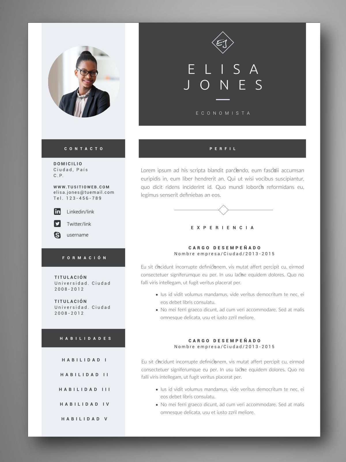 Descarga Plantillas Editables De Curriculum Vitae Cv Visuales Y