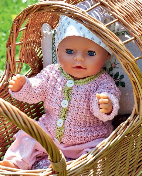 Sød strikket trøje med lysegrøn kant til Baby Born dukke - Hjemmet DK | Idéer til huset | Pinterest
