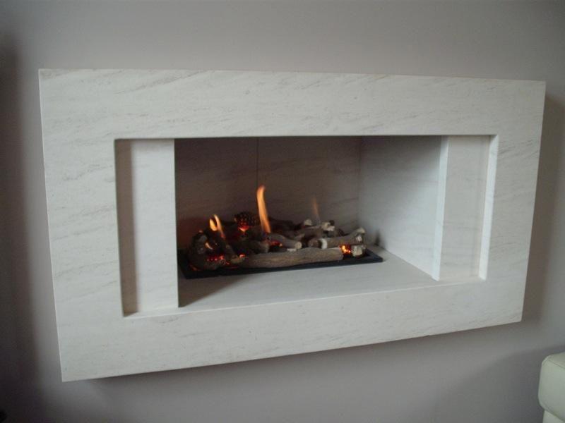 Hole in the Wall Gas Fire with Portuguese Limestone Fascia, Much Hoole,  Preston,