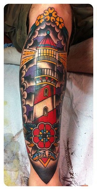 Lighthouse American Traditional Tattoo: Would TOTALLY Get This For My Dad. To