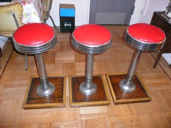 Vintage Chrome Soda Fountain Diner Luncheonette Bar Stools Coca Cola Red s PICK UP ONLY