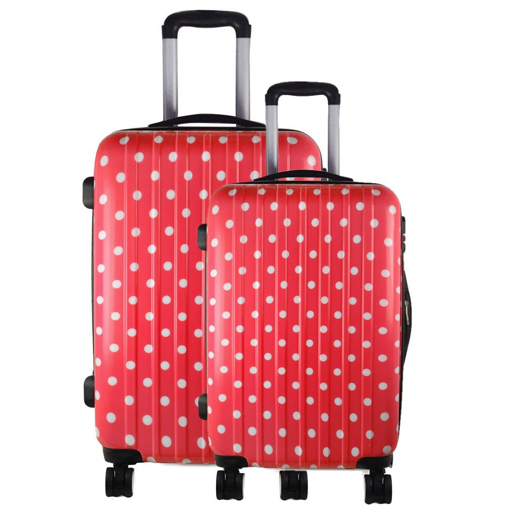 2 piece set travel luggage wheel trolleys suitcase bag hard shell ...
