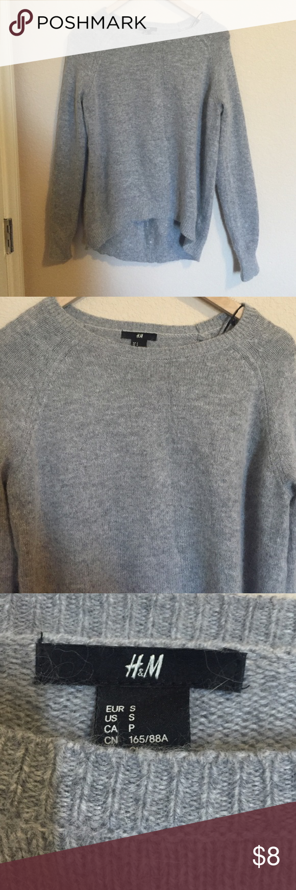 Gray fuzzy sweater Hardly worn. Good condition. H&M Sweaters Crew & Scoop Necks