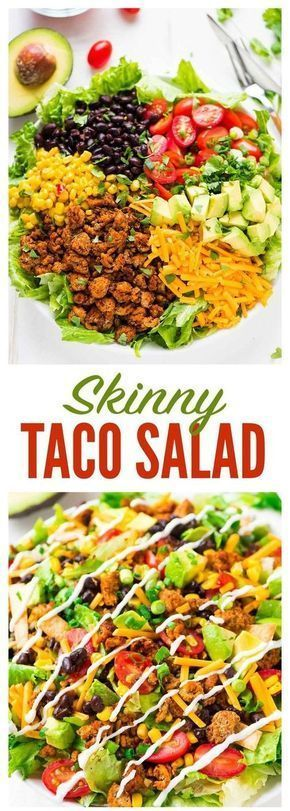 Skinny Taco Salad with ground turkey, black beans, avocado, and Greek yogurt salsa dressing. AMAZING, easy, low carb recipe. Perfect for fast, healthy lunches, weeknight dinners, and meal prep! Taco Salad with ground turkey, black beans, avocado, and Greek yogurt salsa dressing. AMAZING, easy, low carb recipe. Perfect for fast, healthy lunches, weeknight dinners, and meal prep!