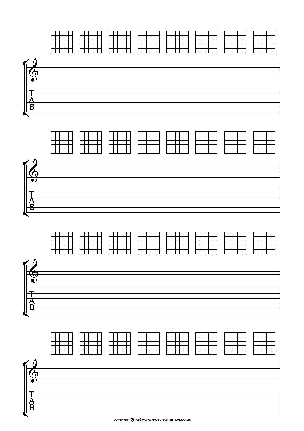 Blank Chord Sheets