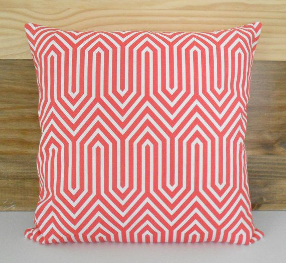 Pink coral geometric decorative pillow cover by pillowflightpdx