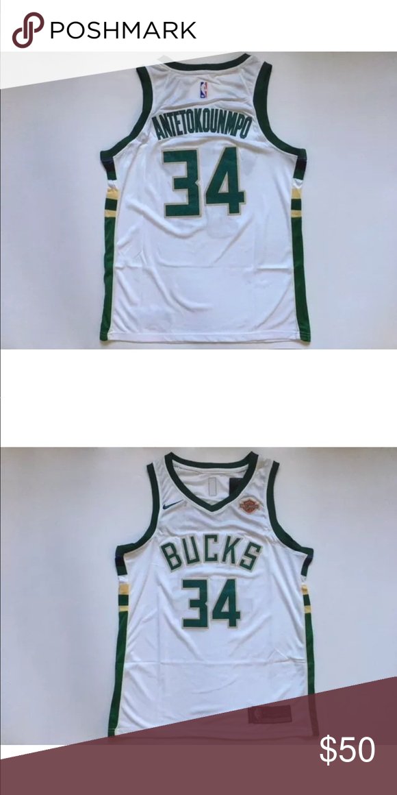 NWT Giannis Antetokounmpo Bucks Jersey Large 2017    2018 Giannis  Antetokounmpo Home White Milwaukee Bucks Jersey Stitched + Authentic Nike  Shirts Tees ... ff45620f9