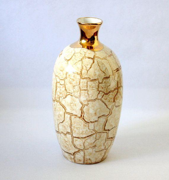 Spanish Vase Porcelanas Valencia Ribarroja Gold Vase Porcelain