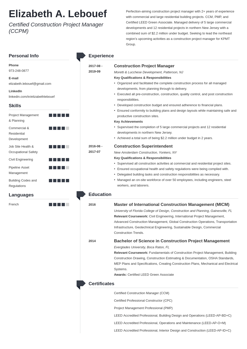 Construction Project Manager Resume Example Template Muse Project Manager Resume Manager Resume Job Resume Examples