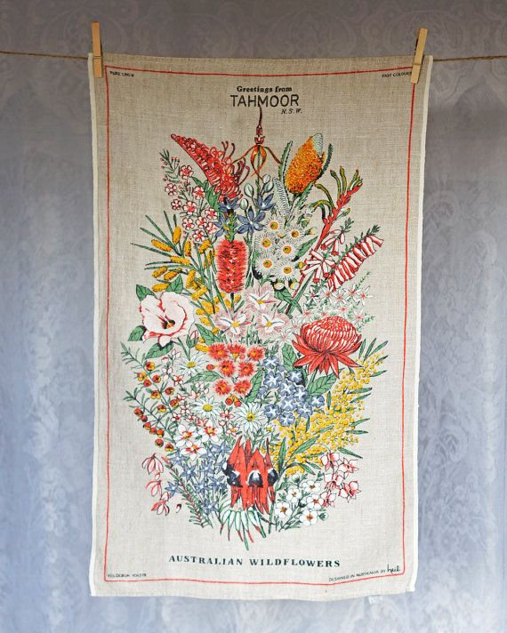Vintage Australian Tea Towel Pure Linen Greetings From
