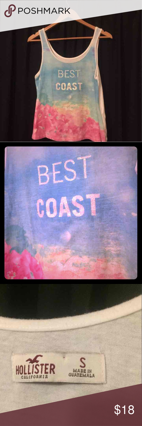 Hollister tank top Print is only on one side. Fits loosely Hollister Tops Tank Tops