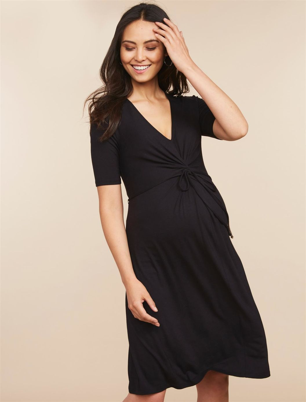 be0390bf8e1 Knot Front Elbow Sleeve Maternity Dress