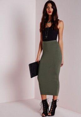 Petite Longline Jersey Midi Skirt Khaki | my dream life ...