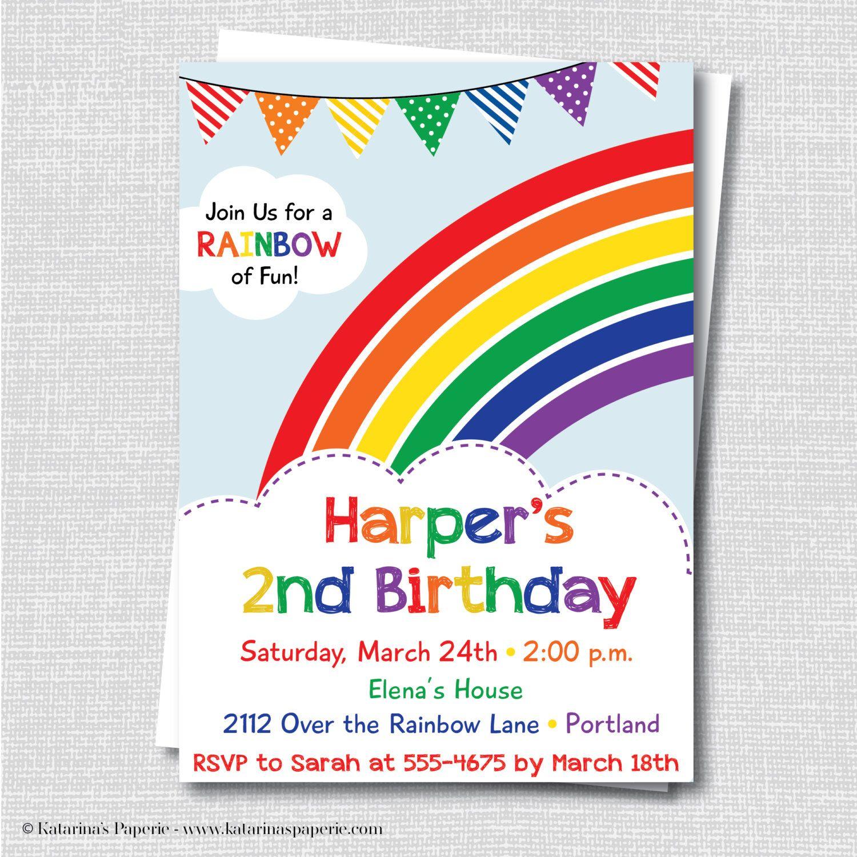 Charming Rainbow Themed Birthday Party Invitations Contemporary ...