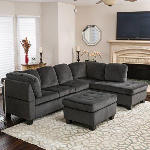 Bobkona Austin 3-Piece Reversible Sectional with Ottoman Sofa Set ...
