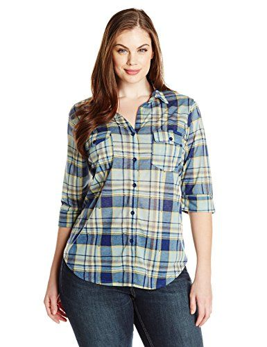 91e53836913 Paper Tee Womens PlusSize Johnny Collar Plaid Printed Top MintBlue 3X     Want to know more