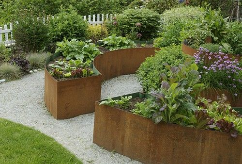 Raised Beds Made Of Corten Steel Panels This Would Be The Material Of Choice Once We Work Out