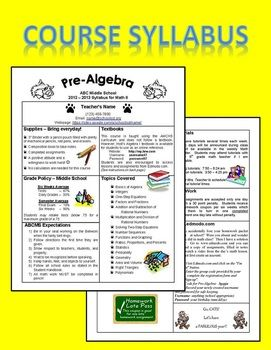 Editable Course Syllabus Template For Interactive Notebook Back To School Form Course Syllabus Syllabus Template Maths Syllabus