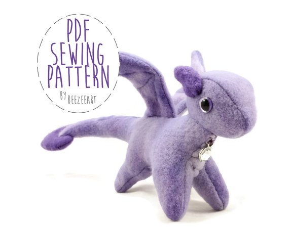 Tiny Dragon Stuffed Animal Sewing Pattern, Small Dragon, Plush Toy ...