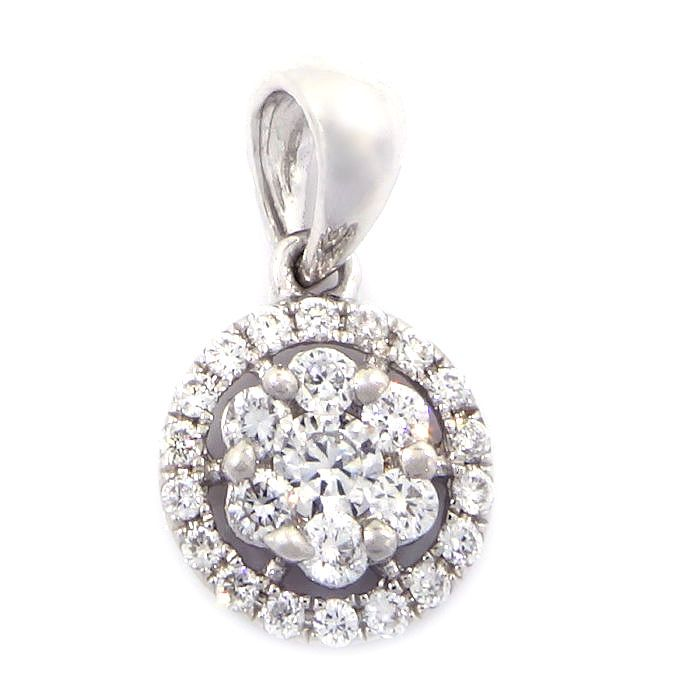 0.25 Carats 18K White Gold Round Diamond Pendant