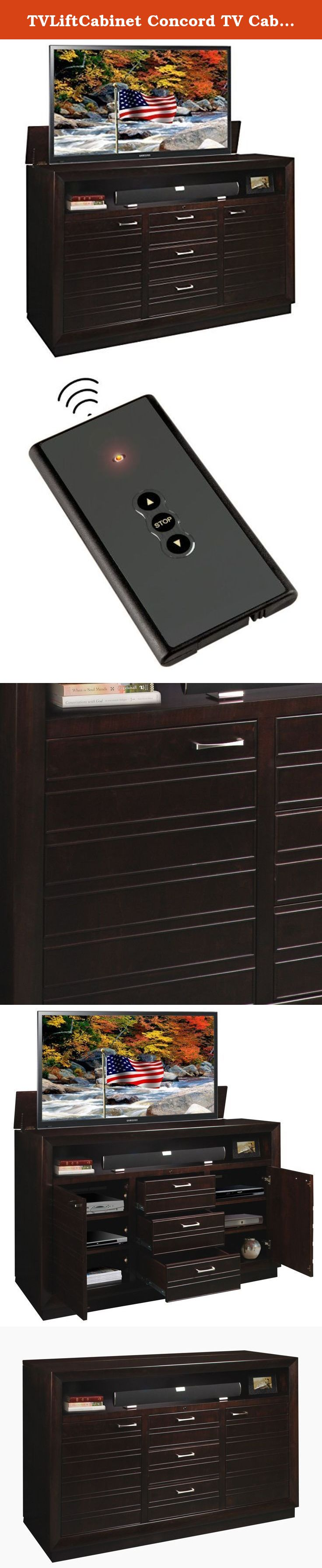 concord tv cabinet xlarge brown the concord xl tv lift cabinet can accommodate screens up to 70 inches and features a modern design with