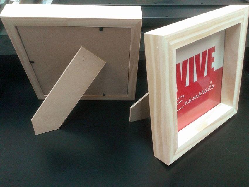 Marco Box De Madera 18x18 Cm - $ 70,00 en MercadoLibre | Souvenir ...