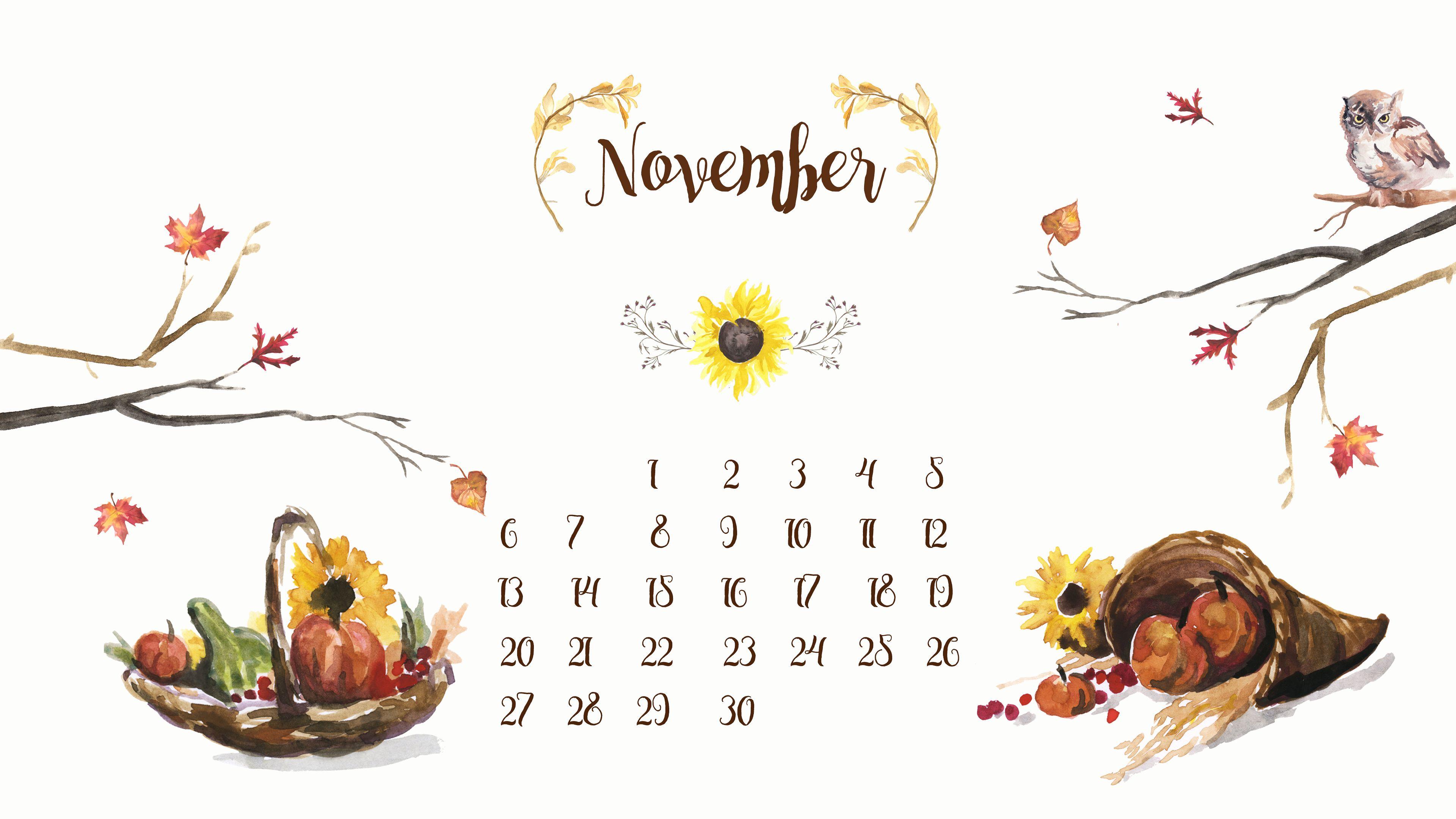 Ноябрь картинки с календарем
