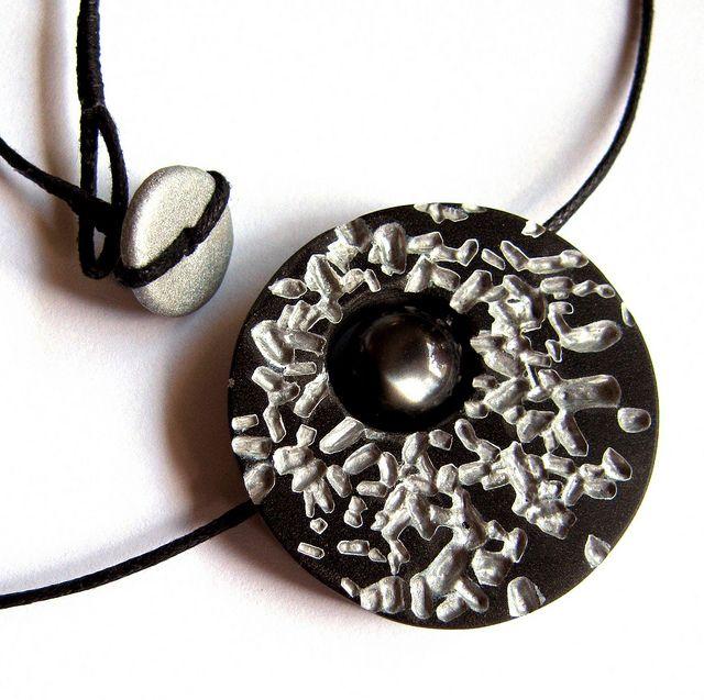 Polymer Clay Salt Disc Pendant - UnaOdd-Lynn tells how she made this beautiful piece.