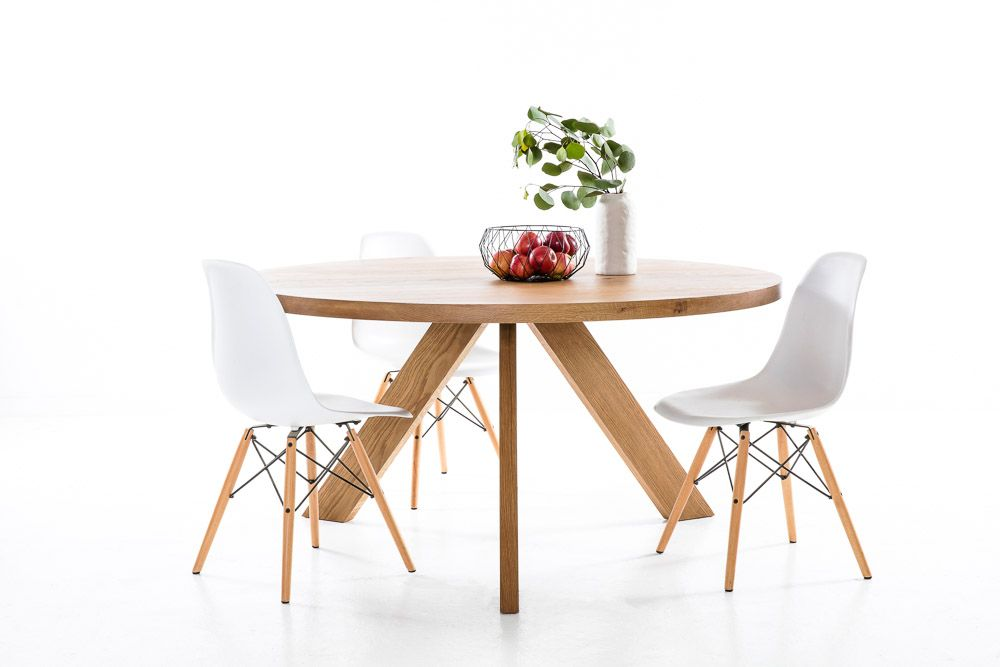 The Orbit Tripod White American Oak Dining Table with Eames Chairs